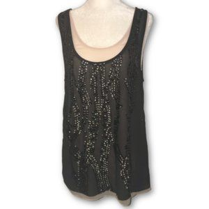 NWT MM Couture Women's Charcoal embellished Tank